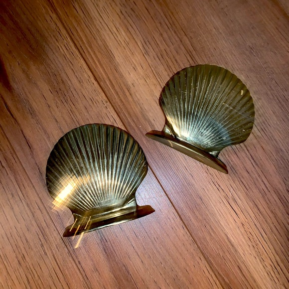 Vintage solid brass seashell bookends